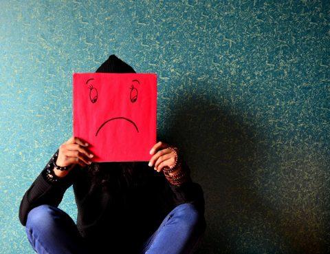 man with unhappy face